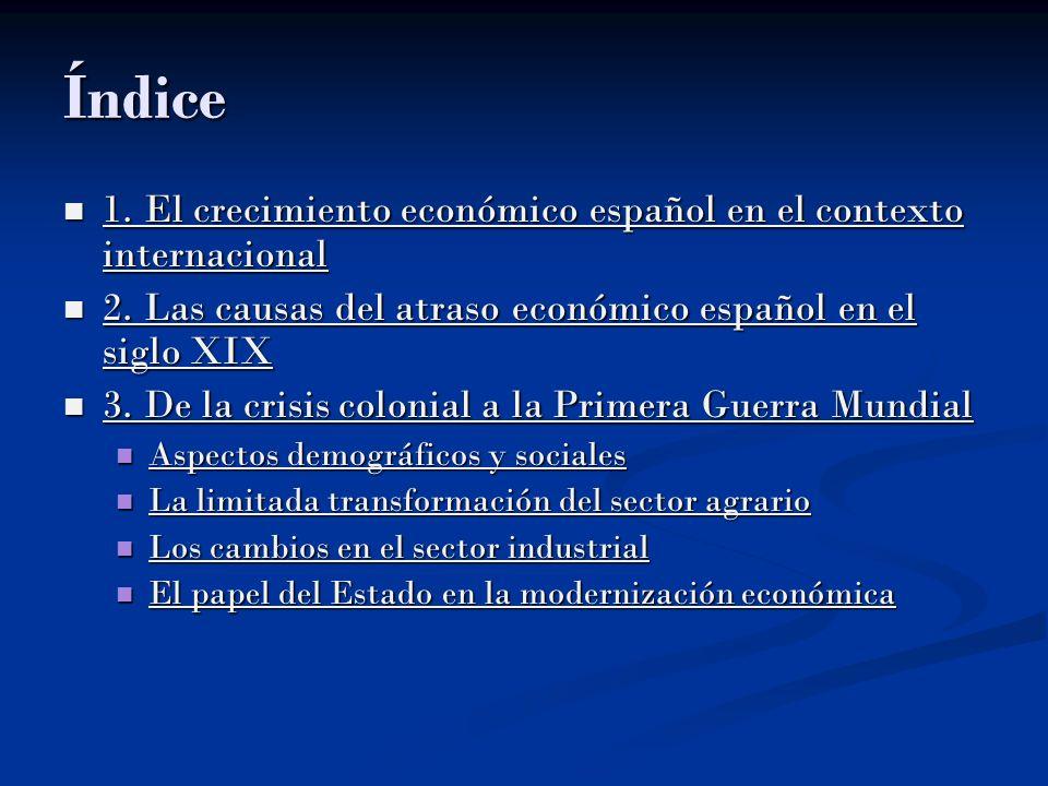 Índice 1. El crecimiento económico español en el contexto internacional 1. El crecimiento económico español en el contexto internacional 1. El crecimi