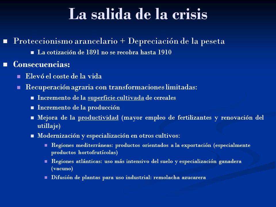 La salida de la crisis Proteccionismo arancelario + Depreciación de la peseta La cotización de 1891 no se recobra hasta 1910 Consecuencias: Elevó el c