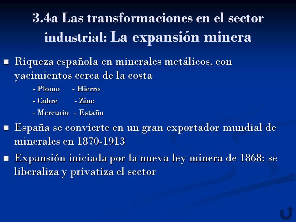 3.4a Las transformaciones en el sector industrial: La expansión minera Riqueza española en minerales metálicos, con yacimientos cerca de la costa Riqu