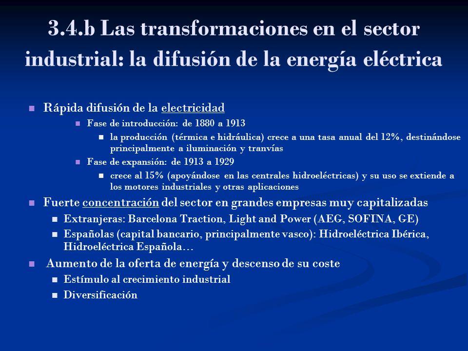 3.4.b Las transformaciones en el sector industrial: la difusión de la energía eléctrica Rápida difusión de la electricidadelectricidad Fase de introdu
