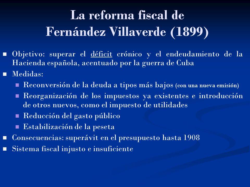La reforma fiscal de Fernández Villaverde (1899) Objetivo: superar el déficit crónico y el endeudamiento de la Hacienda española, acentuado por la gue