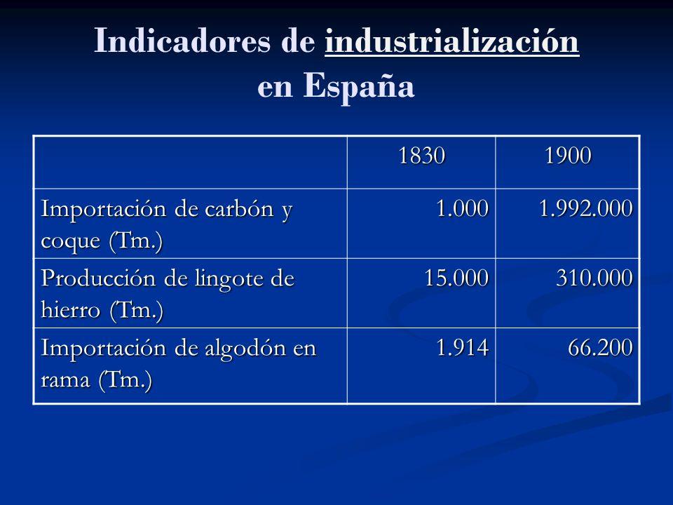 Indicadores de industrialización en Españaindustrialización 18301900 Importación de carbón y coque (Tm.) 1.0001.992.000 Producción de lingote de hierr