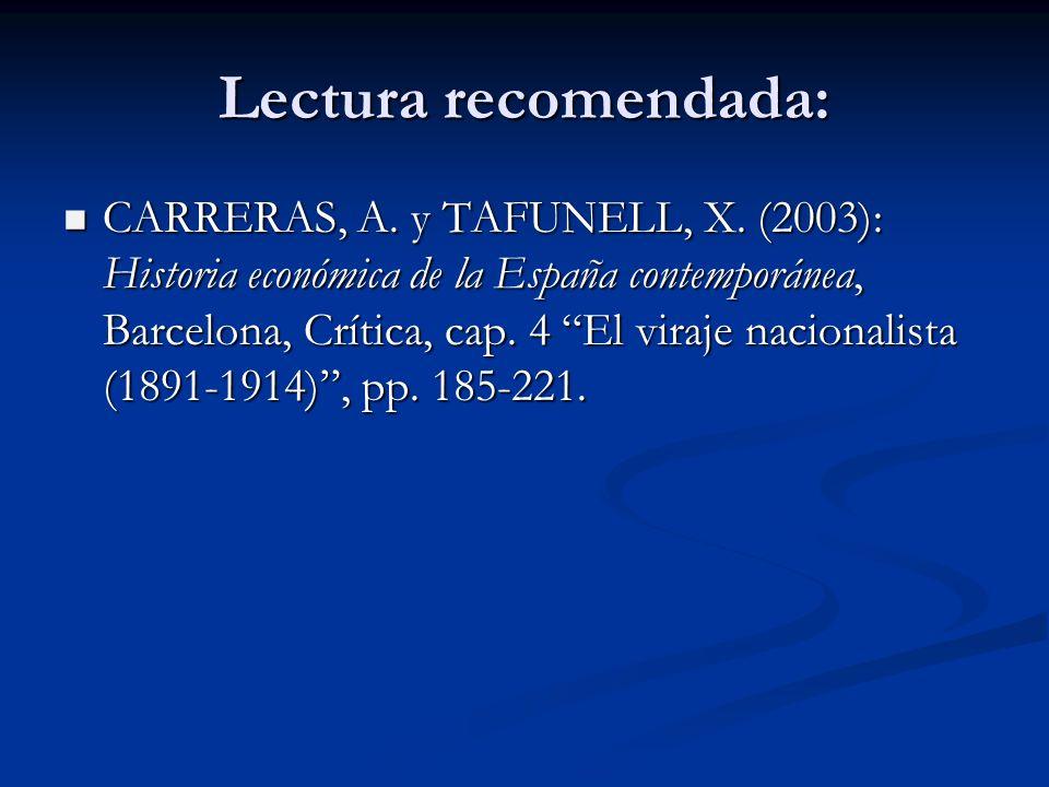 Lectura recomendada: CARRERAS, A. y TAFUNELL, X. (2003): Historia económica de la España contemporánea, Barcelona, Crítica, cap. 4 El viraje nacionali