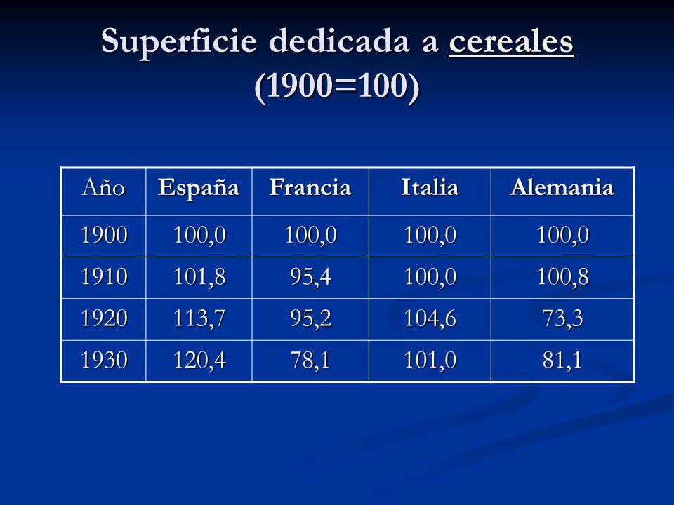 Superficie dedicada a cereales (1900=100) cereales AñoEspañaFranciaItaliaAlemania 1900100,0100,0100,0100,0 1910101,895,4100,0100,8 1920113,795,2104,67