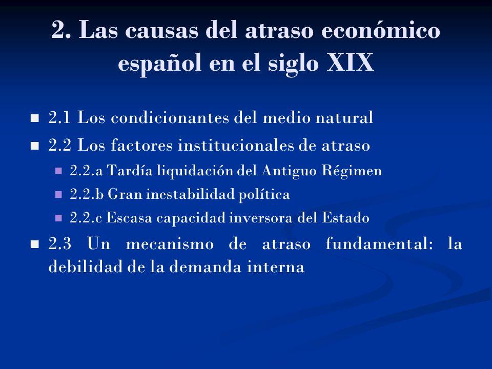 2.1 Los condicionantes del medio natural 2.2 Los factores institucionales de atraso 2.2.a Tardía liquidación del Antiguo Régimen 2.2.b Gran inestabili