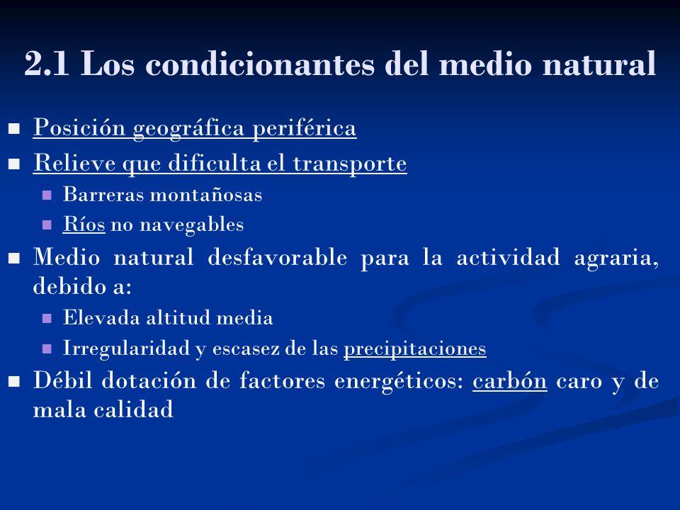 2.1 Los condicionantes del medio natural Posición geográfica periférica Posición geográfica periférica Relieve que dificulta el transporte Relieve que