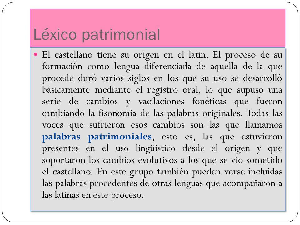 Léxico patrimonial El castellano tiene su origen en el latín. El proceso de su formación como lengua diferenciada de aquella de la que procede duró va