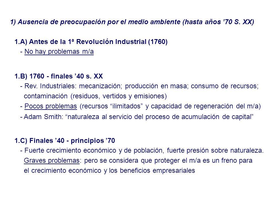 1) Ausencia de preocupación por el medio ambiente (hasta años 70 S. XX) 1.A) Antes de la 1ª Revolución Industrial (1760) - No hay problemas m/a 1.C) F