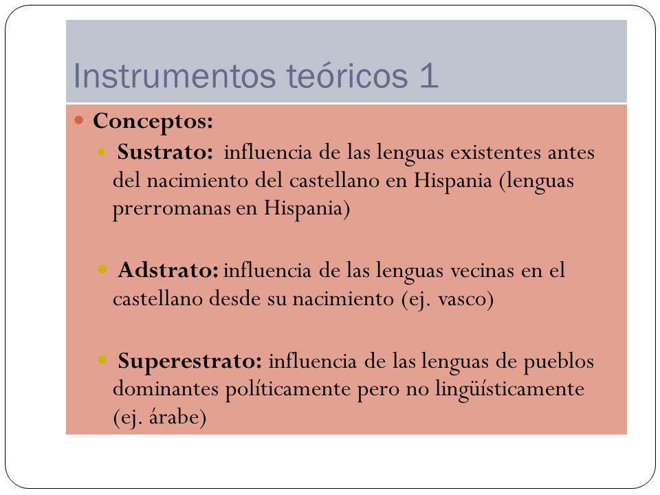 Instrumentos teóricos 1 Conceptos: Sustrato: influencia de las lenguas existentes antes del nacimiento del castellano en Hispania (lenguas prerromanas