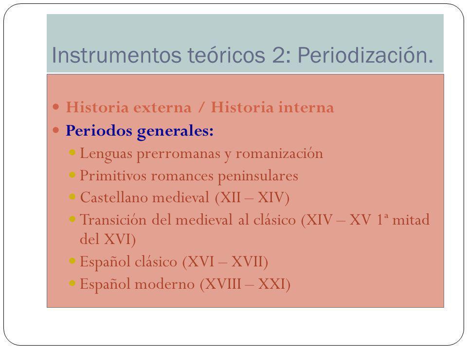 Instrumentos teóricos 2: Periodización. Historia externa / Historia interna Periodos generales: Lenguas prerromanas y romanización Primitivos romances