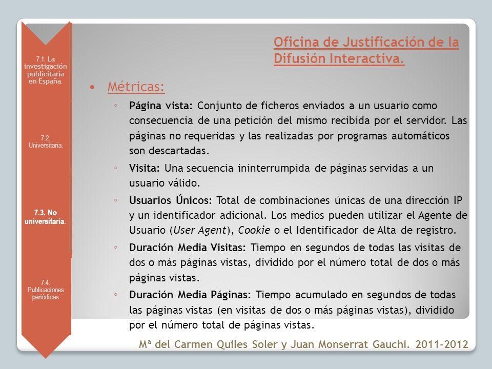7.1. La investigación publicitaria en España. 7.2. Universitaria. 7.3. No universitaria. 7.4. Publicaciones periódicas Oficina de Justificación de la