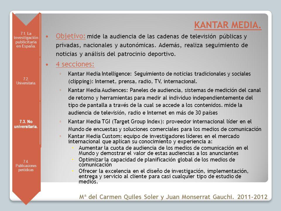 7.1. La investigación publicitaria en España. 7.2. Universitaria. 7.3. No universitaria. 7.4. Publicaciones periódicas KANTAR MEDIA. Objetivo: mide la