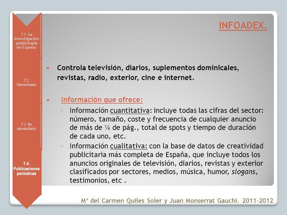 7.1. La investigación publicitaria en España. 7.2. Universitaria. 7.3. No universitaria. 7.4. Publicacione s periódicas INFOADEX. Controla televisión,