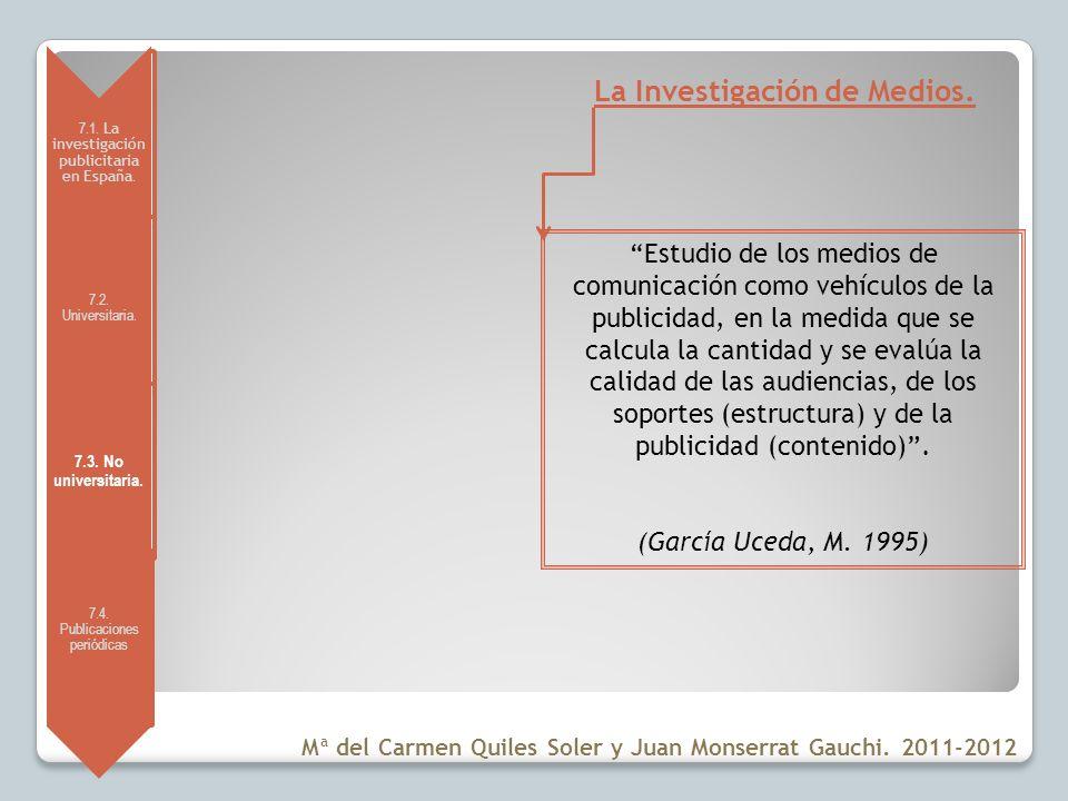 7.1. La investigación publicitaria en España. 7.2. Universitaria. 7.3. No universitaria. 7.4. Publicaciones periódicas La Investigación de Medios. Est