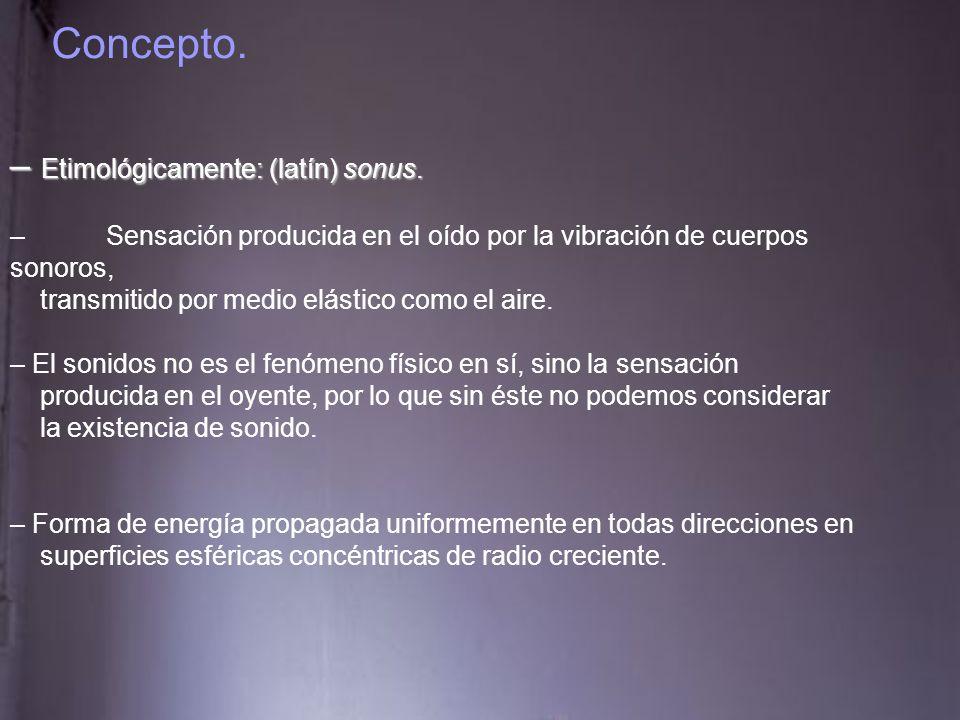 Concepto.– Para producir sonido es necesario: - E- Emisor: cuerpo productor de vibraciones.