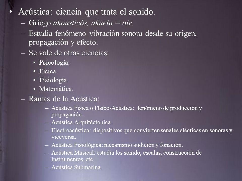 Acústica: ciencia que trata el sonido.–Griego akousticós, akuein = oir.
