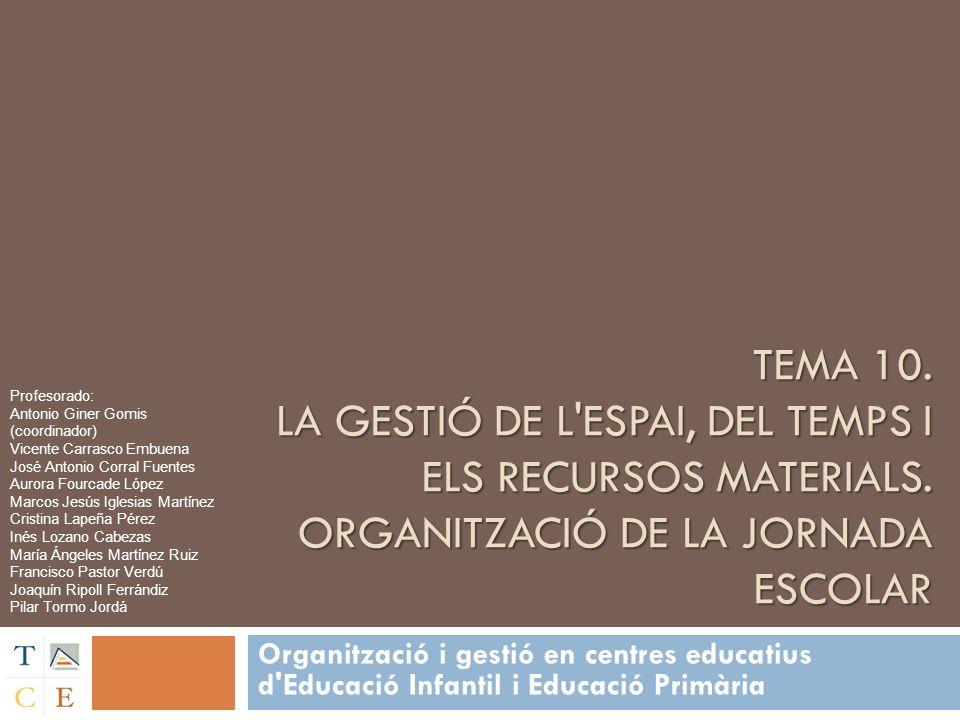 TEMA 10. LA GESTIÓ DE L'ESPAI, DEL TEMPS I ELS RECURSOS MATERIALS. ORGANITZACIÓ DE LA JORNADA ESCOLAR Organització i gestió en centres educatius d'Edu