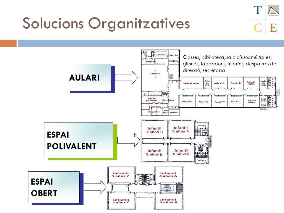 Solucions Organitzatives Classes, biblioteca, sala d'usos múltiples, gimnàs, laboratoris, tutories, despatxos de direcció, secretaria ESPAI OBERT ESPA