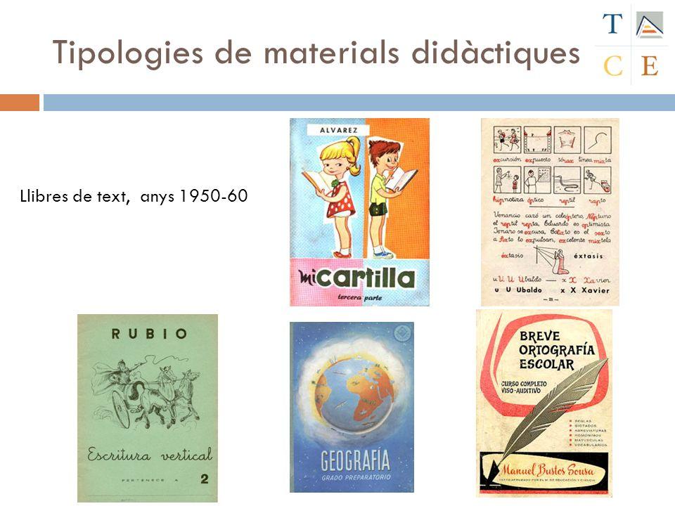 Tipologies de materials didàctiques Llibres de text, anys 1950-60