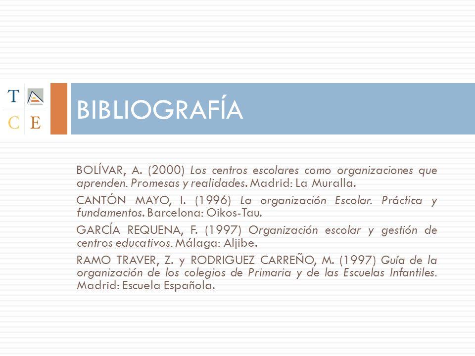 BOLÍVAR, A. (2000) Los centros escolares como organizaciones que aprenden. Promesas y realidades. Madrid: La Muralla. CANTÓN MAYO, I. (1996) La organi
