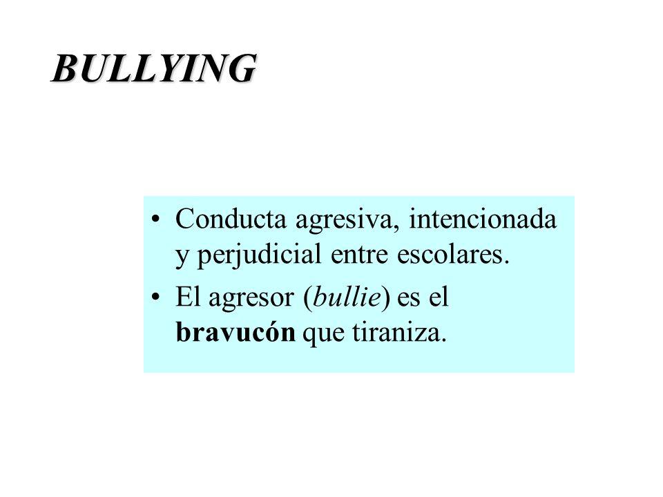 BULLYING = intimidar, amedentrar. Un estudiante es objeto de bullying cuando de manera reiterada es amenazado, intimidado o victimizado mediante actos