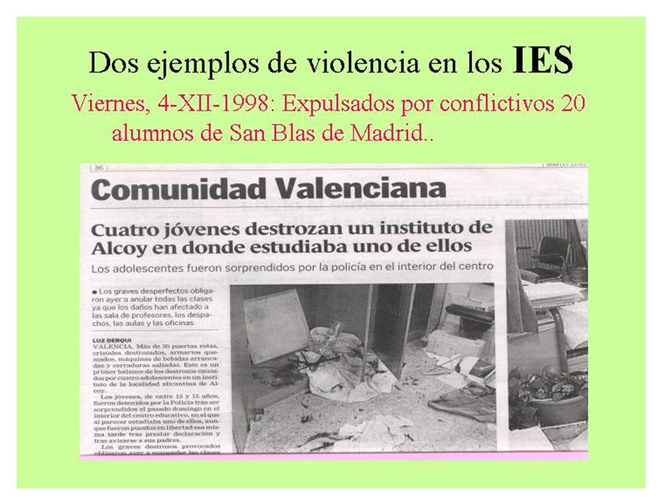 - (2004) 50% Directores de IES- CV sufren problemas de vandalismo.