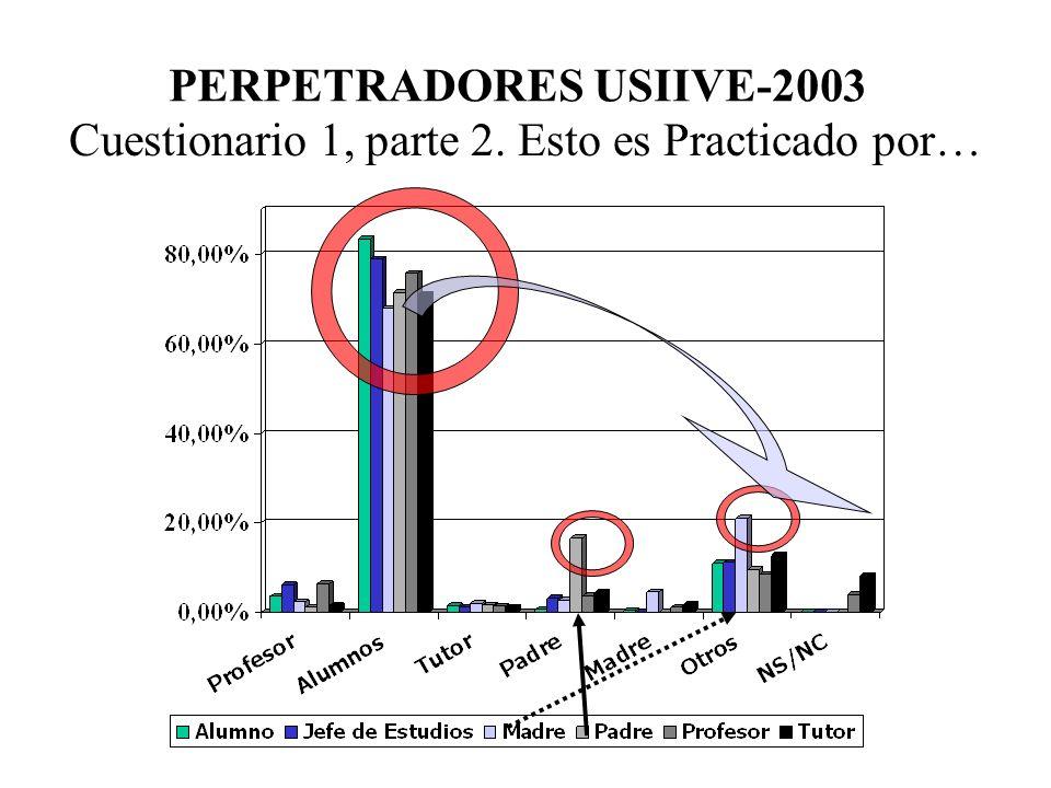 PERPETRADORES DE AGRESIONES Compañeros del aula (62%) Mismo curso, otra aula (17%) Nivel superior (11%) Estudios inferiores (2%) Profesor (1%) Ajeno a