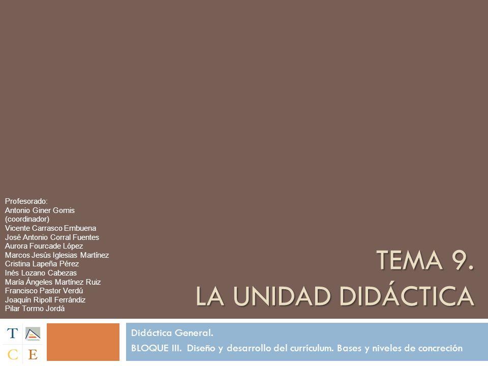 TEMA 9. LA UNIDAD DIDÁCTICA Didáctica General. BLOQUE III. Diseño y desarrollo del currículum. Bases y niveles de concreción Profesorado: Antonio Gine