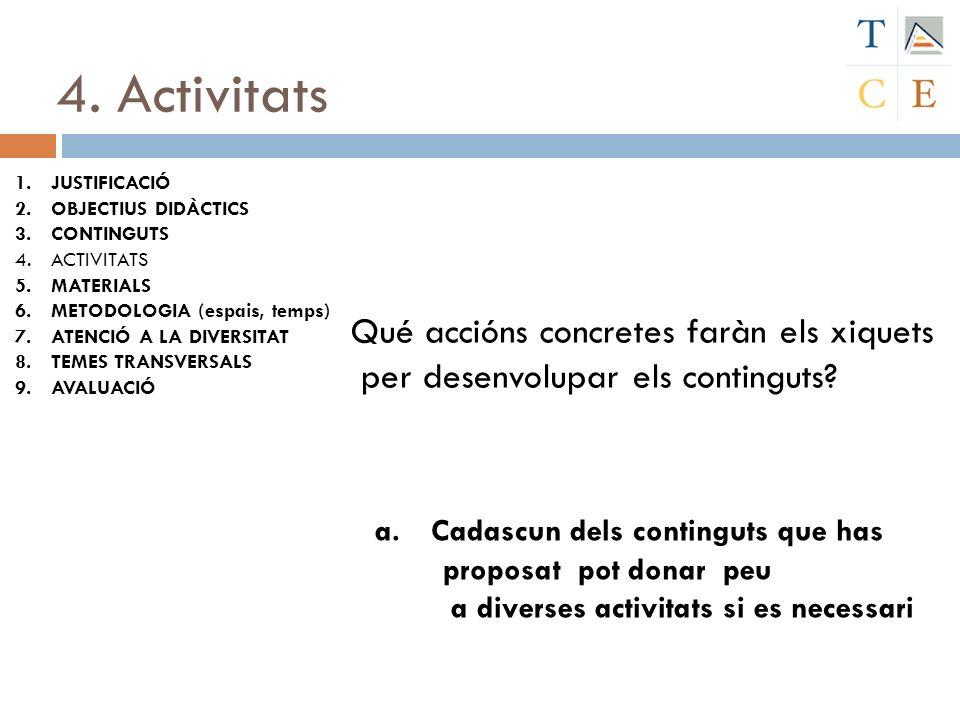 4. Activitats Qué accións concretes faràn els xiquets per desenvolupar els continguts? a. Cadascun dels continguts que has proposat pot donar peu a di
