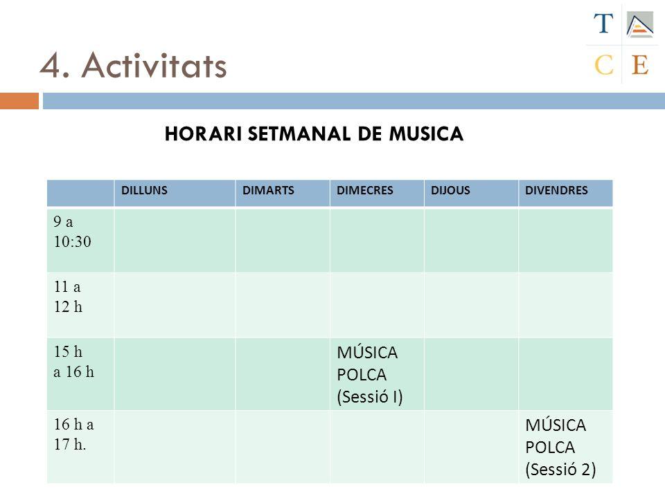 4. Activitats HORARI SETMANAL DE MUSICA DILLUNSDIMARTSDIMECRESDIJOUSDIVENDRES 9 a 10:30 11 a 12 h 15 h a 16 h MÚSICA POLCA (Sessió I) 16 h a 17 h. MÚS