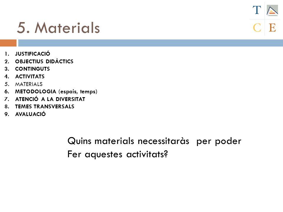 5. Materials 1.JUSTIFICACIÓ 2.OBJECTIUS DIDÀCTICS 3.CONTINGUTS 4.ACTIVITATS 5.MATERIALS 6.METODOLOGIA (espais, temps) 7.ATENCIÓ A LA DIVERSITAT 8.TEME
