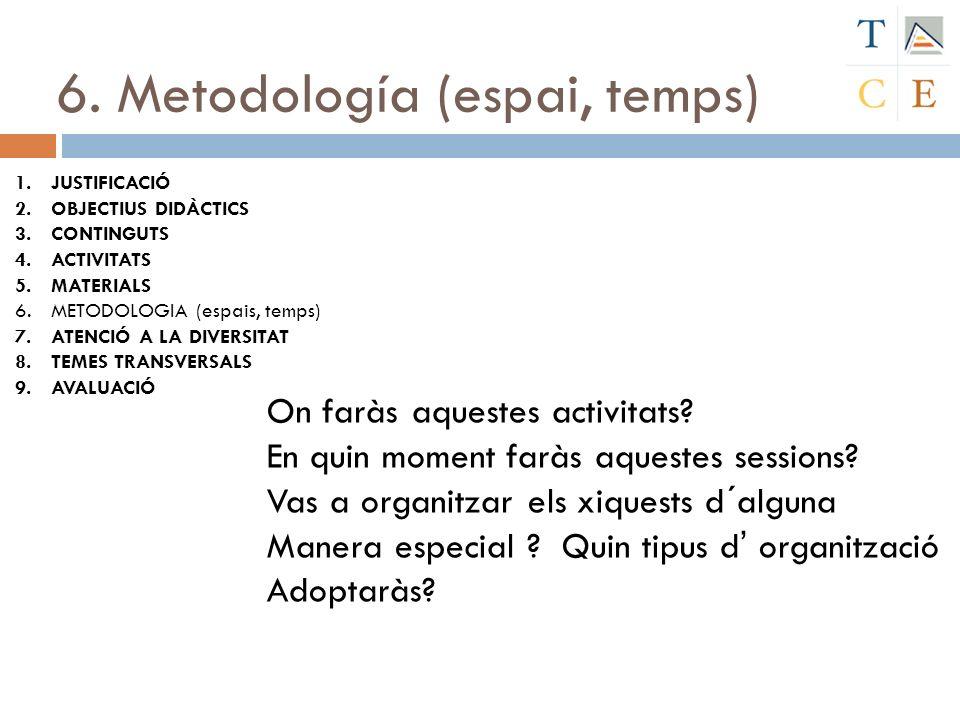 6. Metodología (espai, temps) 1.JUSTIFICACIÓ 2.OBJECTIUS DIDÀCTICS 3.CONTINGUTS 4.ACTIVITATS 5.MATERIALS 6.METODOLOGIA (espais, temps) 7.ATENCIÓ A LA