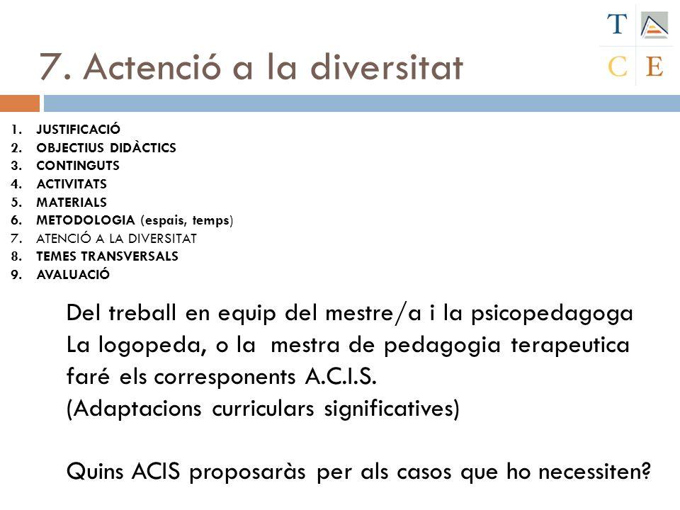 7. Actenció a la diversitat 1.JUSTIFICACIÓ 2.OBJECTIUS DIDÀCTICS 3.CONTINGUTS 4.ACTIVITATS 5.MATERIALS 6.METODOLOGIA (espais, temps) 7.ATENCIÓ A LA DI