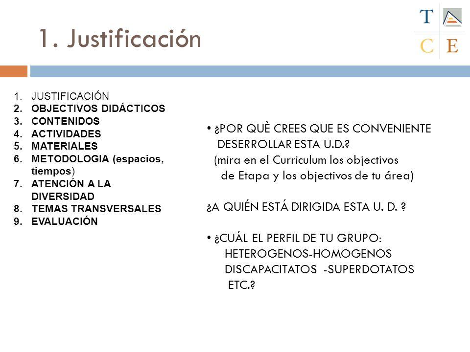 1. Justificación 1.JUSTIFICACIÓN 2.OBJECTIVOS DIDÁCTICOS 3.CONTENIDOS 4.ACTIVIDADES 5.MATERIALES 6.METODOLOGIA (espacios, tiempos) 7.ATENCIÓN A LA DIV