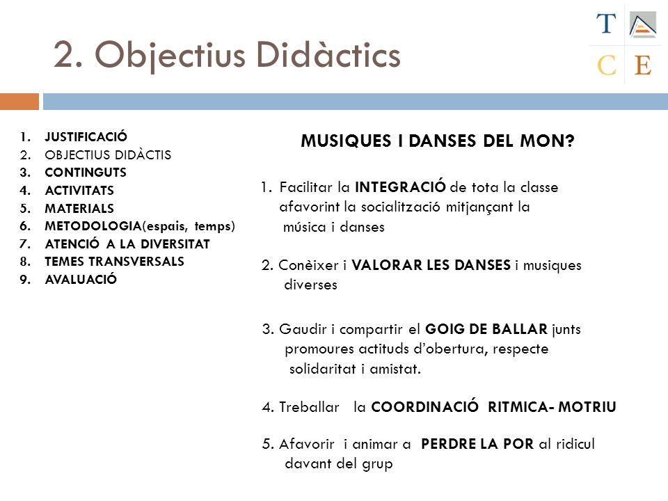 2. Objectius Didàctics 1.JUSTIFICACIÓ 2.OBJECTIUS DIDÀCTIS 3.CONTINGUTS 4.ACTIVITATS 5.MATERIALS 6.METODOLOGIA(espais, temps) 7.ATENCIÓ A LA DIVERSITA