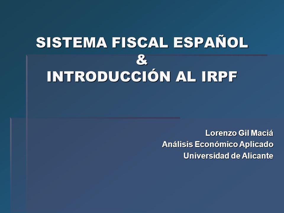 SISTEMA FISCAL ESPAÑOL & INTRODUCCIÓN AL IRPF Lorenzo Gil Maciá Análisis Económico Aplicado Universidad de Alicante