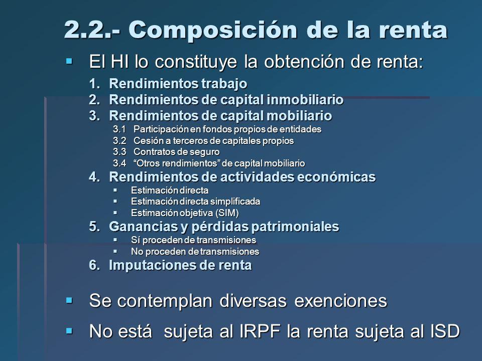 2.2.- Composición de la renta El HI lo constituye la obtención de renta: El HI lo constituye la obtención de renta: 1.Rendimientos trabajo 2.Rendimien