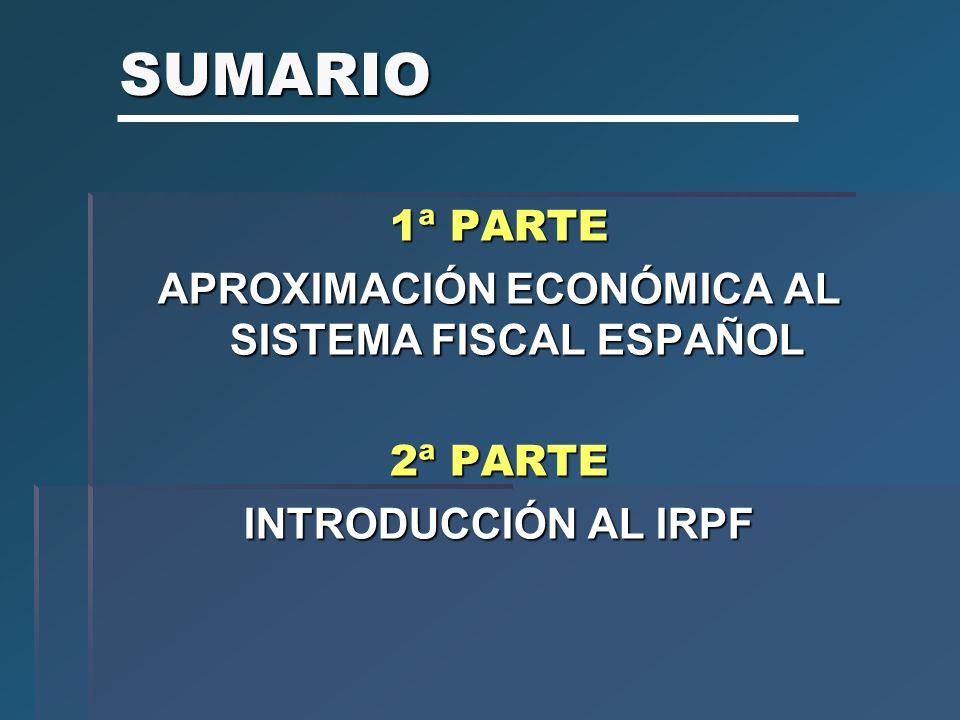 SUMARIO 1ª PARTE APROXIMACIÓN ECONÓMICA AL SISTEMA FISCAL ESPAÑOL 2ª PARTE INTRODUCCIÓN AL IRPF