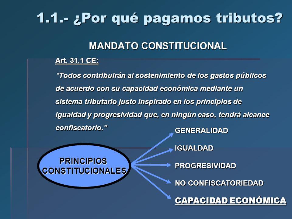 1.1.- ¿Por qué pagamos tributos? MANDATO CONSTITUCIONAL Art. 31.1 CE: Todos contribuirán al sostenimiento de los gastos públicos de acuerdo con su cap