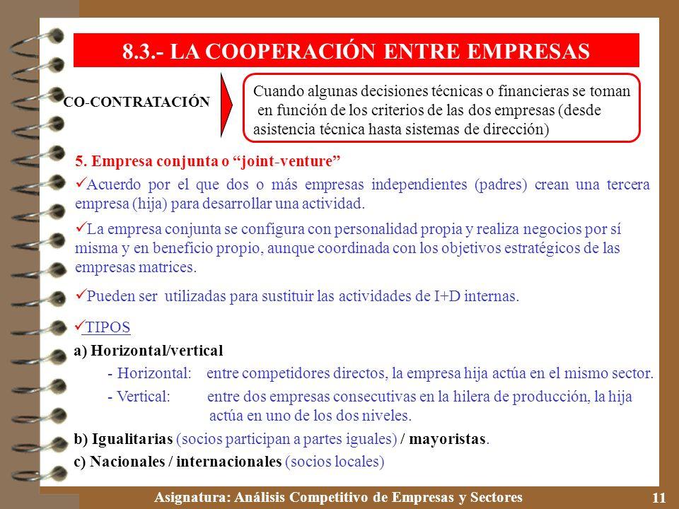 Asignatura: Análisis Competitivo de Empresas y Sectores 11 CO-CONTRATACIÓN Cuando algunas decisiones técnicas o financieras se toman en función de los