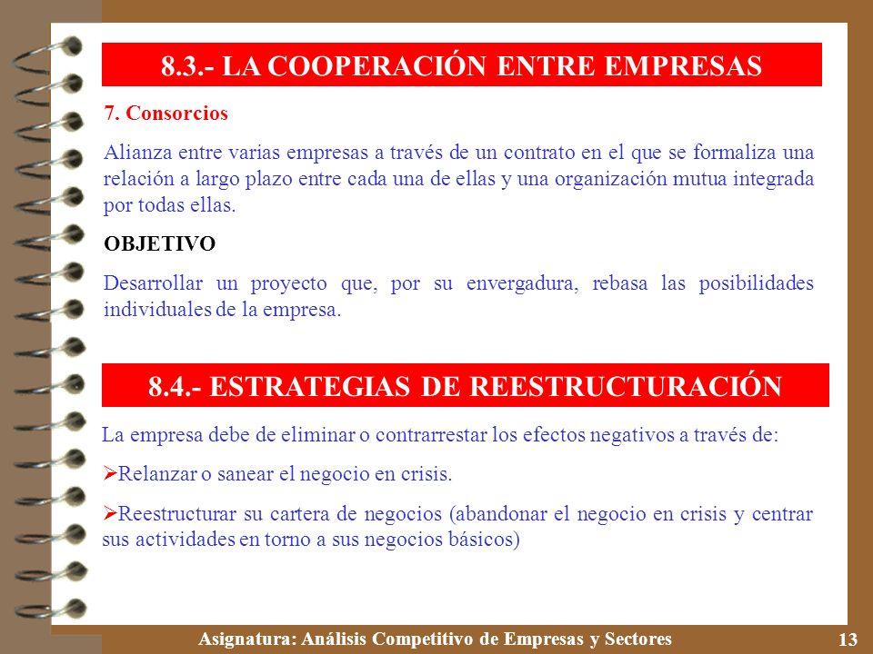 Asignatura: Análisis Competitivo de Empresas y Sectores 13 7. Consorcios Alianza entre varias empresas a través de un contrato en el que se formaliza