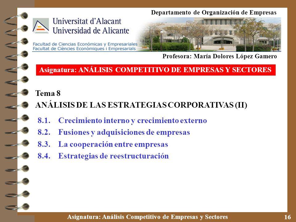Asignatura: Análisis Competitivo de Empresas y Sectores 16 Tema 8 ANÁLISIS DE LAS ESTRATEGIAS CORPORATIVAS (II) 8.1. Crecimiento interno y crecimiento