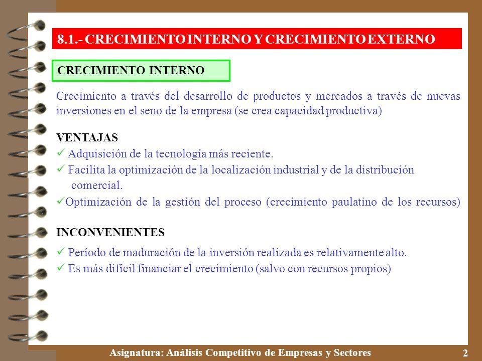 Asignatura: Análisis Competitivo de Empresas y Sectores 3 CRECIMIENTO EXTERNO 8.1.- CRECIMIENTO INTERNO Y CRECIMIENTO EXTERNO * Crecimiento que resulta de la adquisición, participación, asociación o control de otras empresas o unidades empresariales (cambio de propiedad de los activos) VENTAJAS Ahorra tiempo frente al interno (permite entrar en un negocio nuevo en el momento más adecuado) Puede ser la única manera de superar una determinada barrera de entrada o de penetrar en un mercado nacional cerrado por condiciones legales.