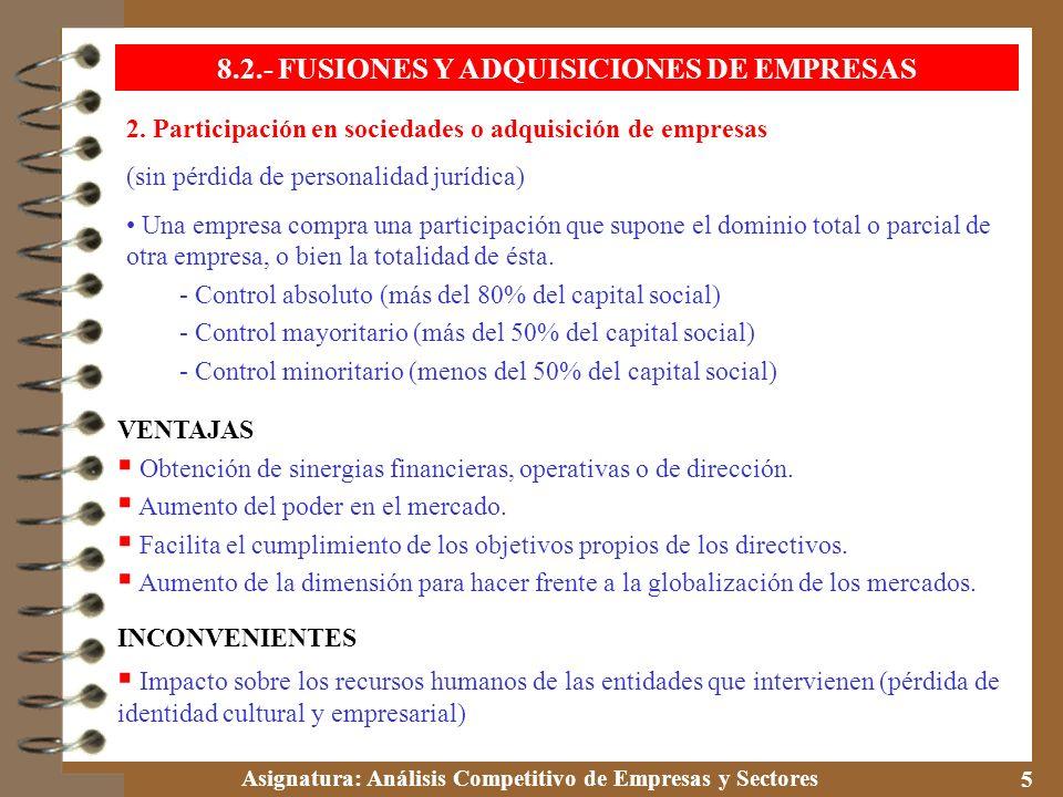 Asignatura: Análisis Competitivo de Empresas y Sectores 5 2. Participación en sociedades o adquisición de empresas (sin pérdida de personalidad jurídi