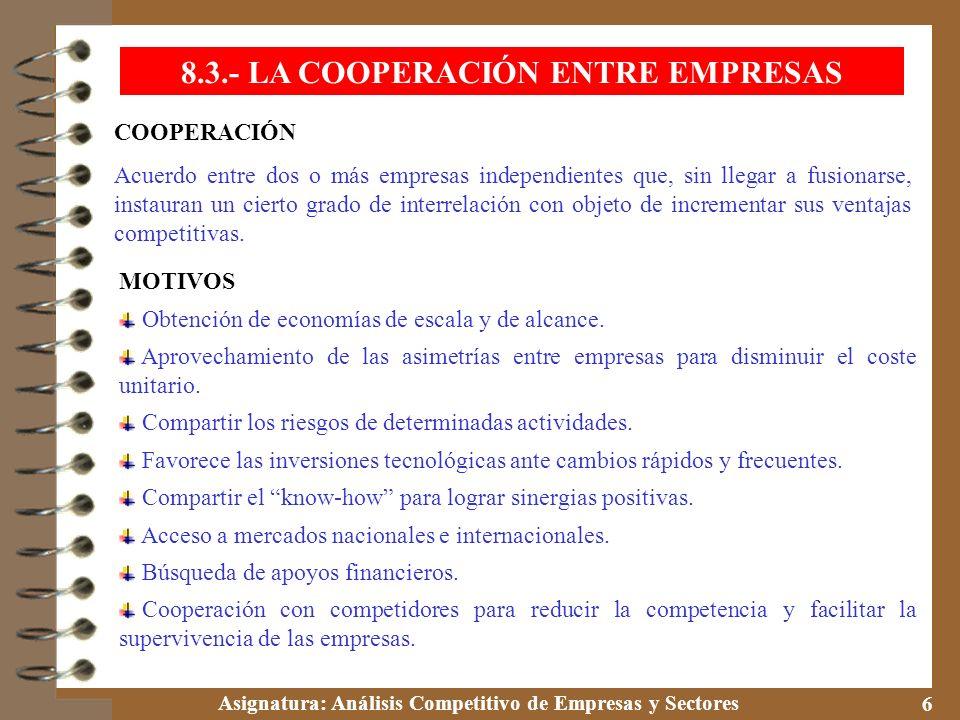Asignatura: Análisis Competitivo de Empresas y Sectores 6 8.3.- LA COOPERACIÓN ENTRE EMPRESAS COOPERACIÓN Acuerdo entre dos o más empresas independien