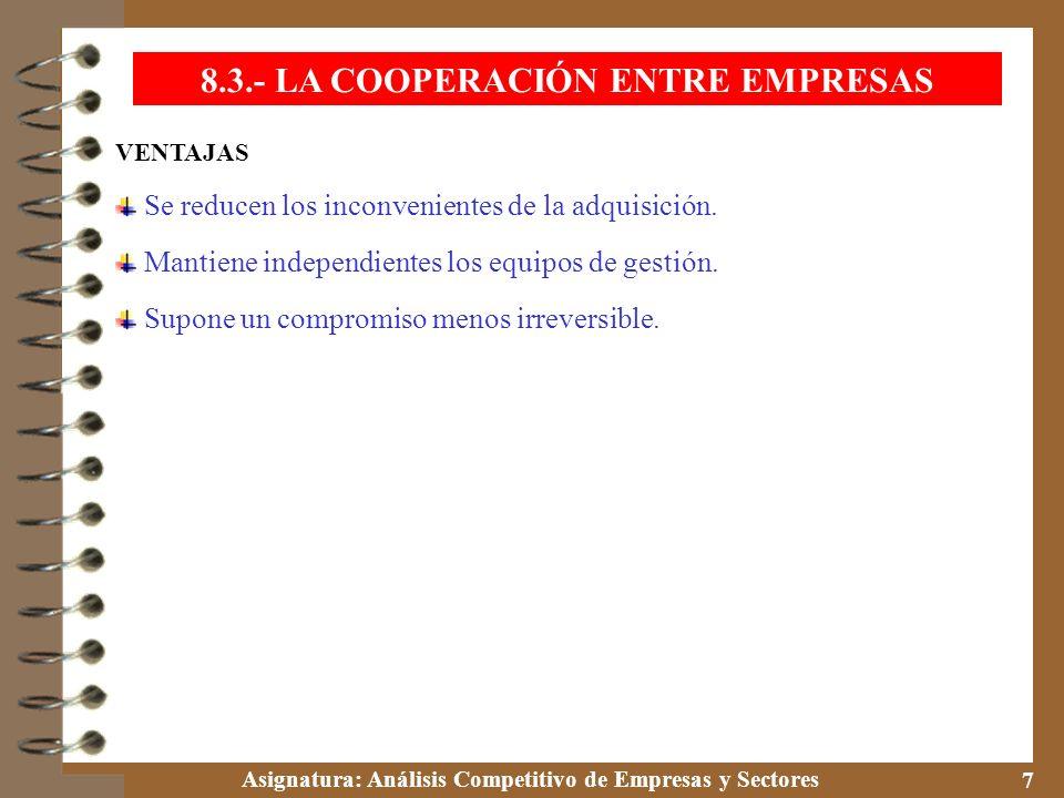 Asignatura: Análisis Competitivo de Empresas y Sectores 7 VENTAJAS Se reducen los inconvenientes de la adquisición. Mantiene independientes los equipo