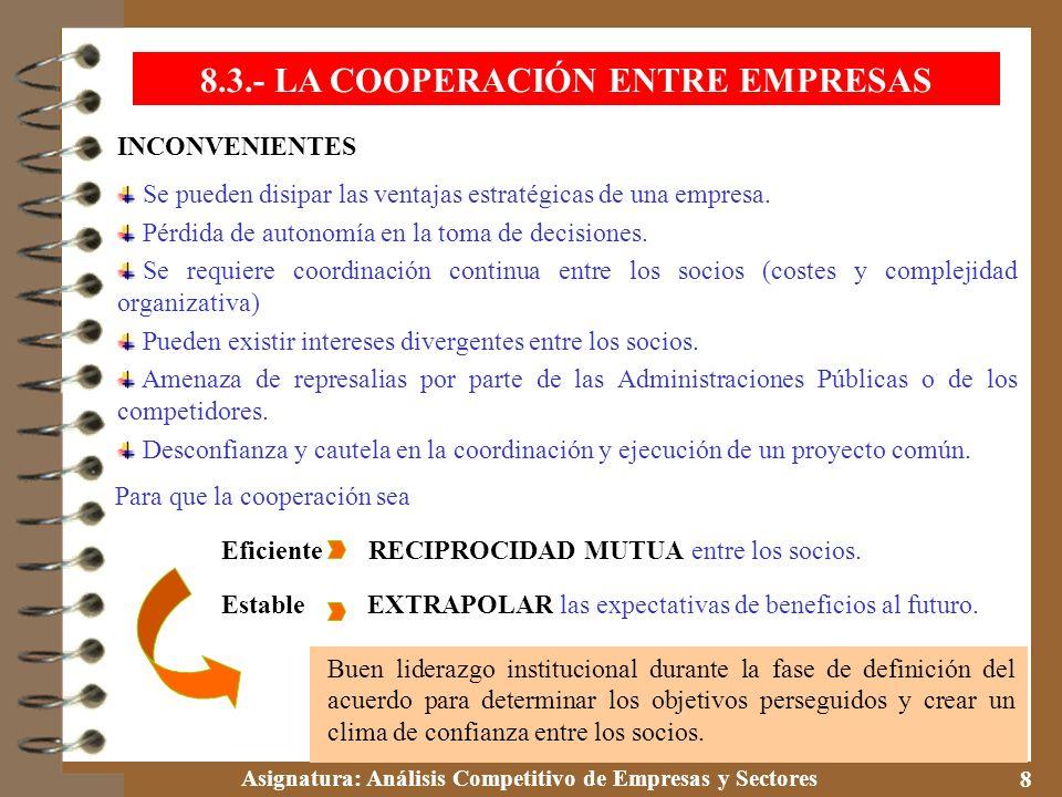 Asignatura: Análisis Competitivo de Empresas y Sectores 8 INCONVENIENTES Se pueden disipar las ventajas estratégicas de una empresa. Pérdida de autono