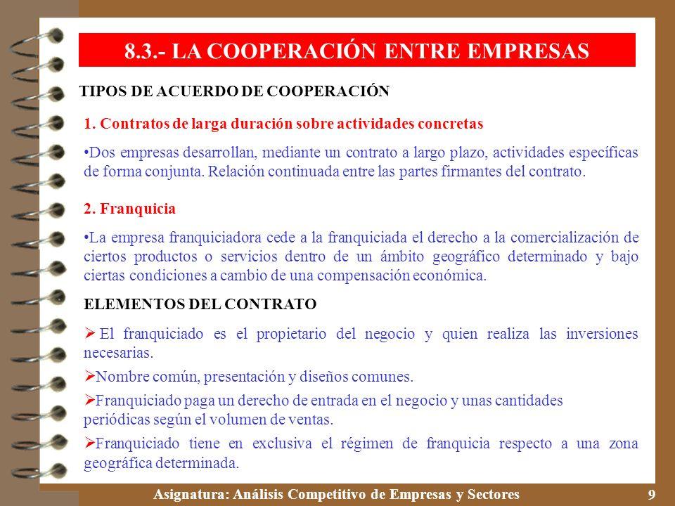 Asignatura: Análisis Competitivo de Empresas y Sectores 9 TIPOS DE ACUERDO DE COOPERACIÓN 8.3.- LA COOPERACIÓN ENTRE EMPRESAS 1. Contratos de larga du