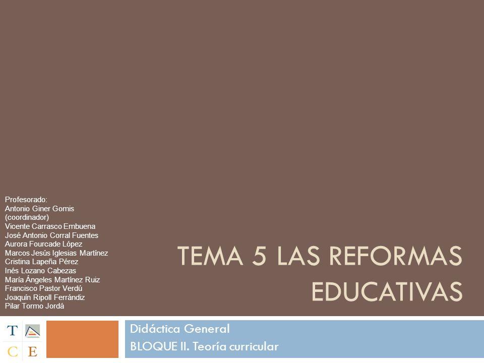 TEMA 5 LAS REFORMAS EDUCATIVAS Didáctica General BLOQUE II. Teoría curricular Profesorado: Antonio Giner Gomis (coordinador) Vicente Carrasco Embuena