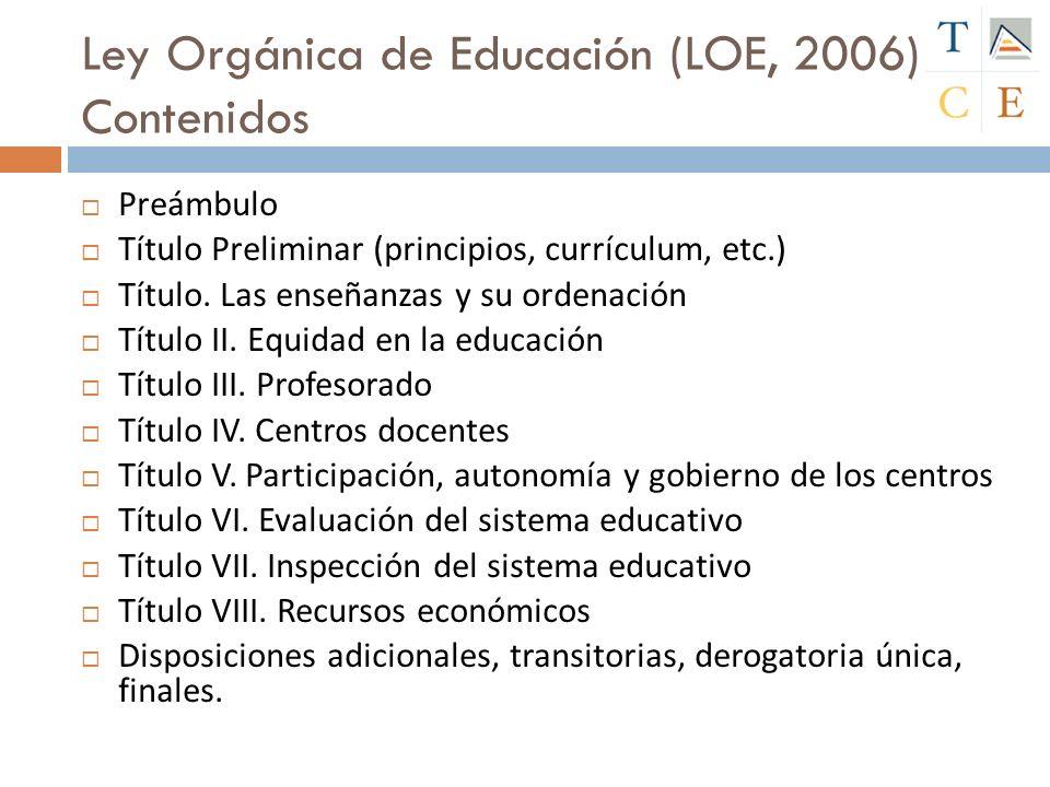 Ley Orgánica de Educación (LOE, 2006) Contenidos Preámbulo Título Preliminar (principios, currículum, etc.) Título. Las enseñanzas y su ordenación Tít